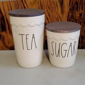 Rae Dunn TEA and SUGAR canisters NWT